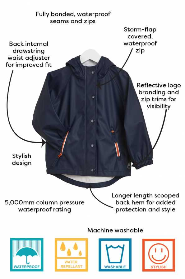 technical information for Grass and Air boys navy rain mac