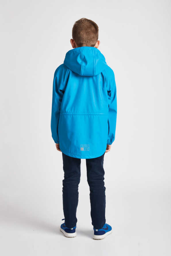 junior boys turquoise rain mac: Grass & Air boys turquoise Rainster rear product view