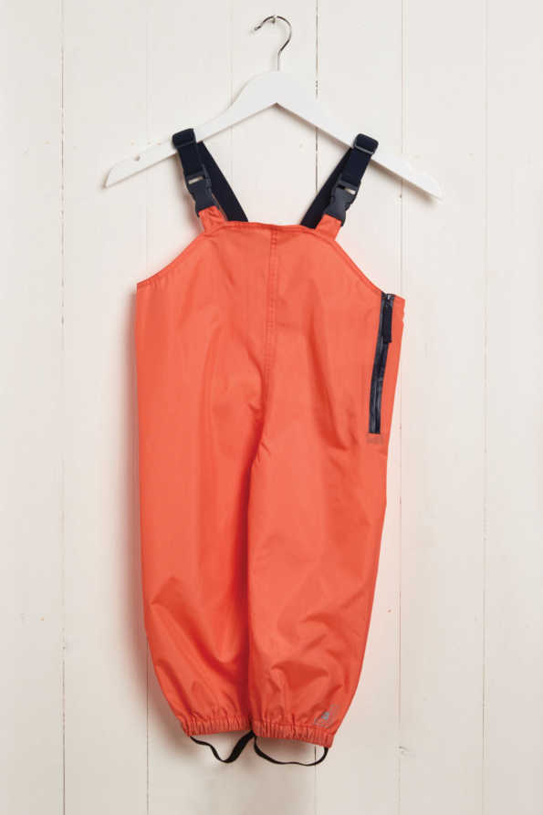 front product view of kids coral waterproof wader trousers