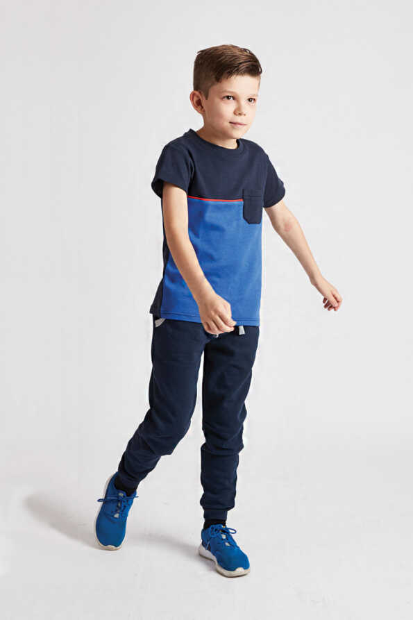boys bright blue t-shirt front view