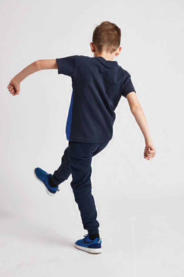 boys bright blue t-shirt rear view