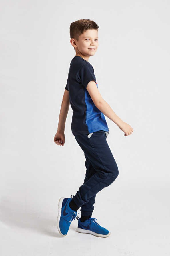 boys bright blue t-shirt side view