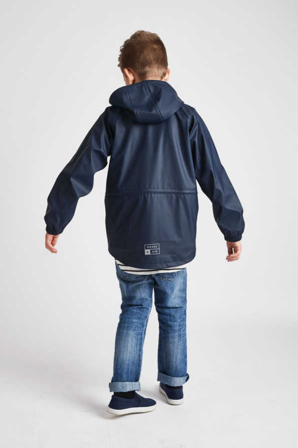 older boys navy rain mac - rear product view