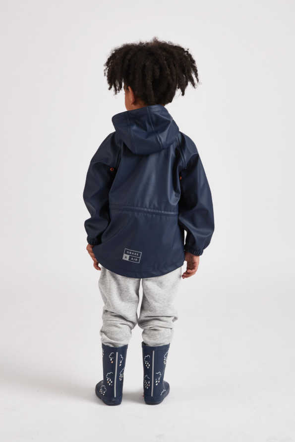 infant boys navy rain mac rear