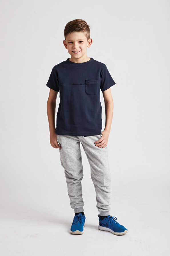 boys navy t-shirt front view