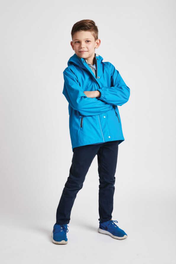 boys turquoise rain mac front