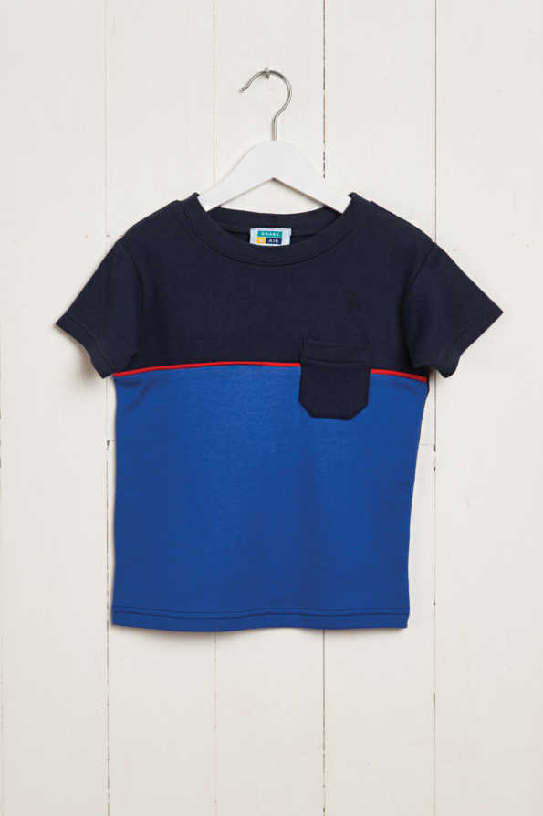 front product hanger shot of bright blue & navy boys t-shirt