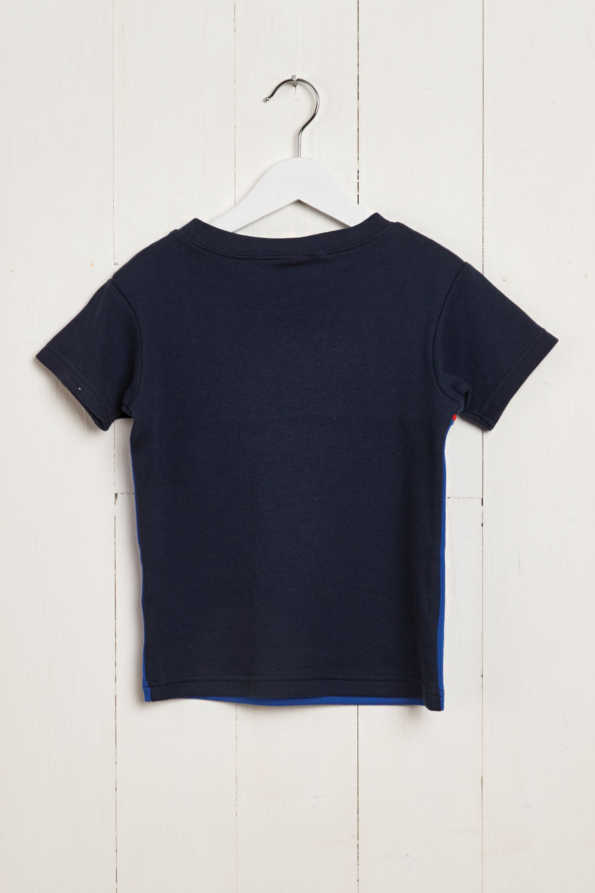 rear product hanger shot of bright blue & navy boys t-shirt