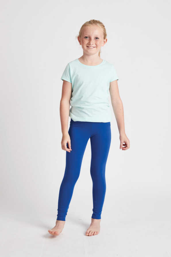 girls bright blue leggings front view