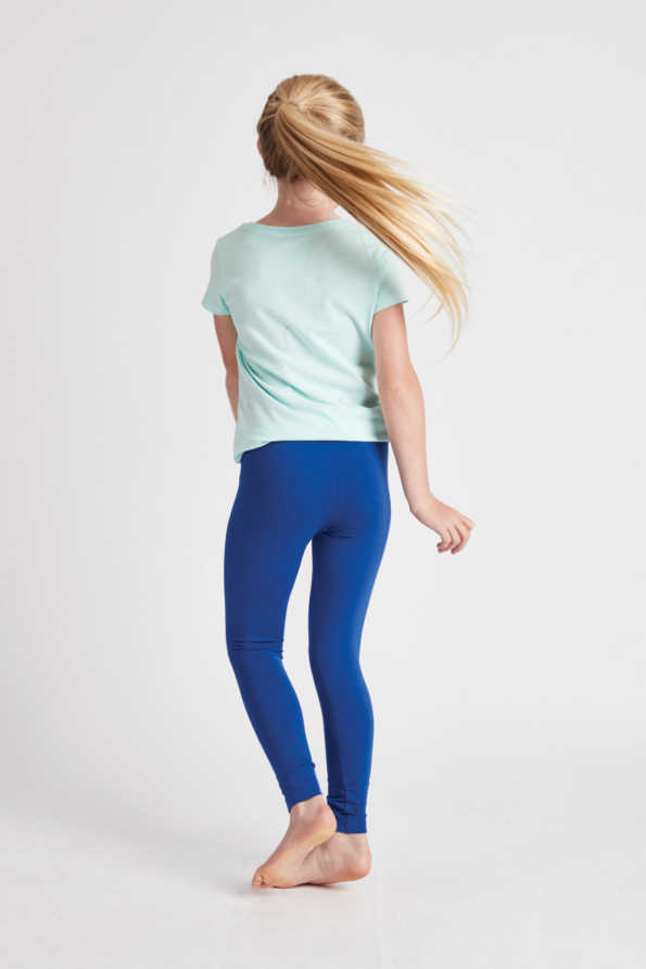 girls bright blue leggings rear view