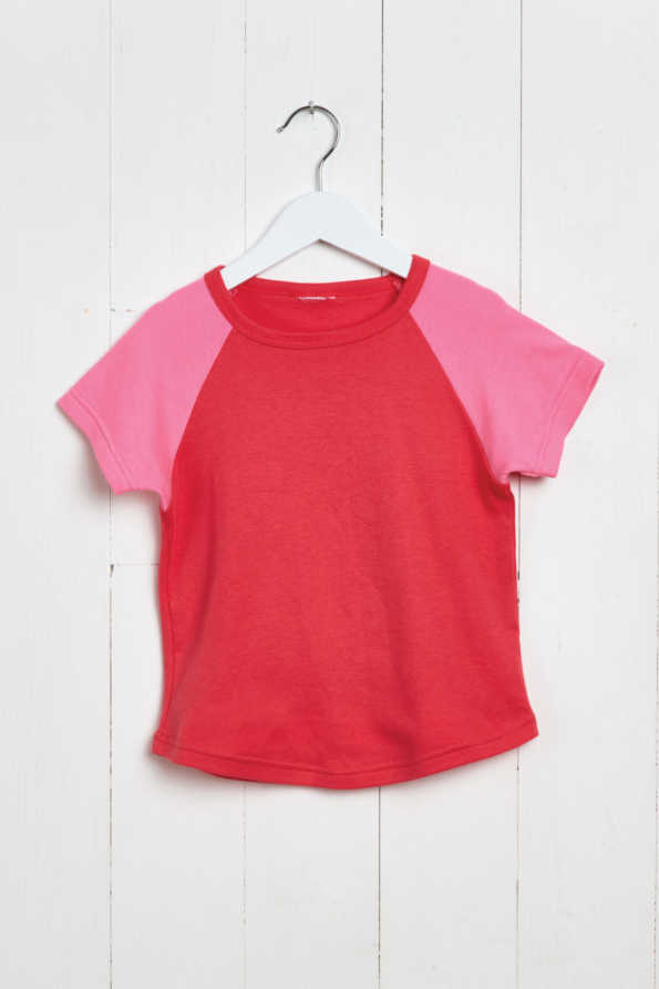 product hanger shot of coral girls t-shirt