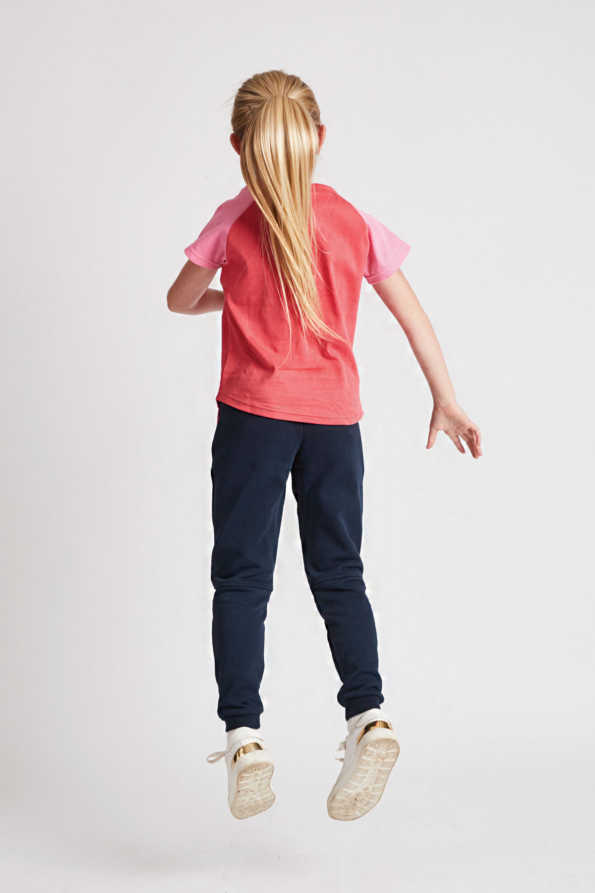 girls coral t-shirt rear view