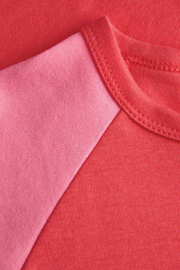 girls coral t shirt neckline detail