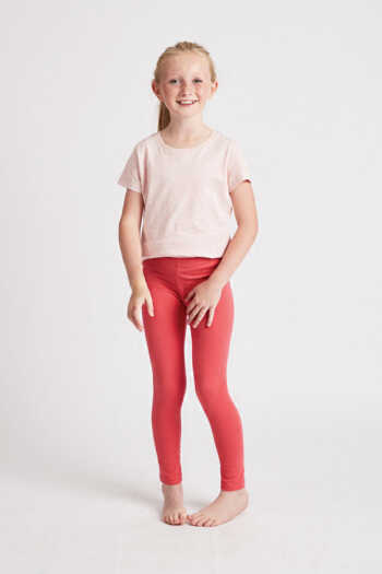 girls coral leggings front view