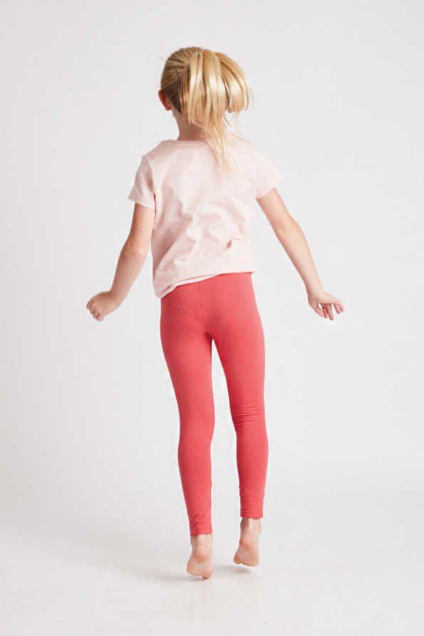 girls coral leggings rear view