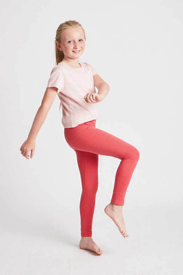 girls coral leggings side view