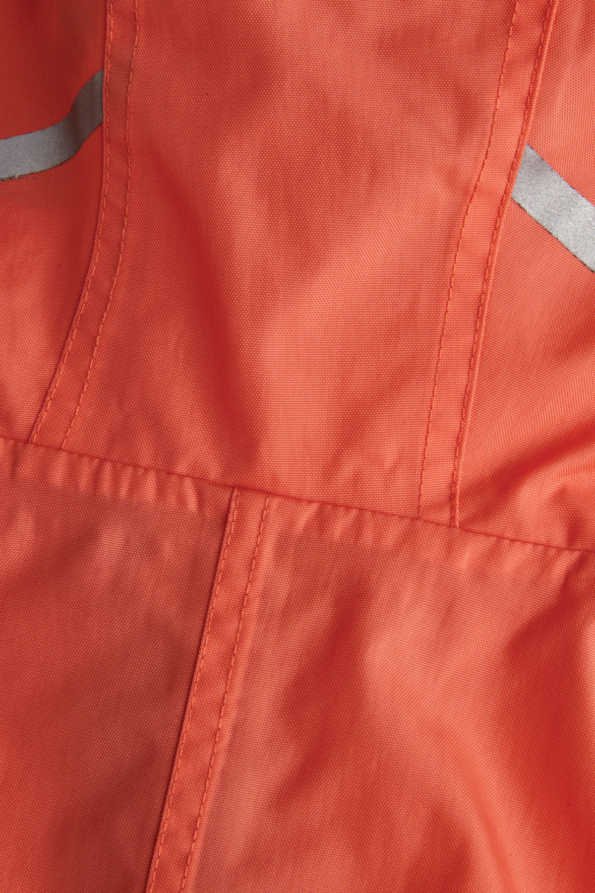 kids coral puddle suit reflective strip detail on back of hood