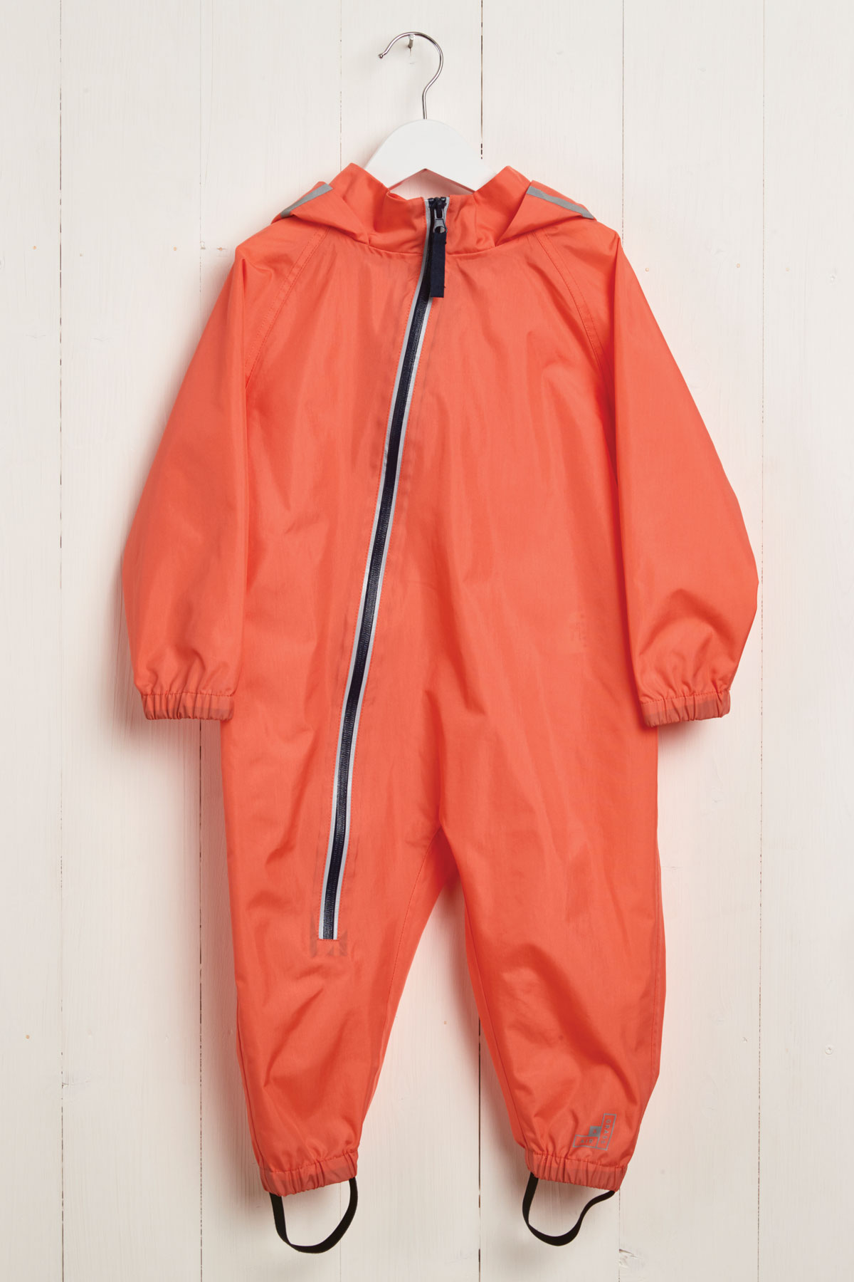 front product view of kids coral puddle suit