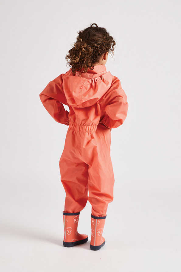 Kids coral puddlesuit: all in one waterproof suit rear product view