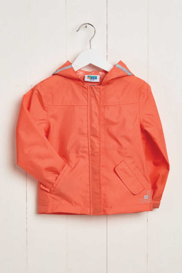 front product hanger shot of kids coral rain jacket
