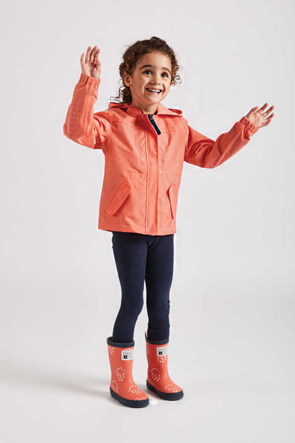 coral kids rain jacket front product view