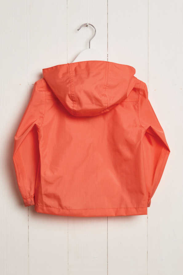 rear product hanger shot of kids coral rain jacket