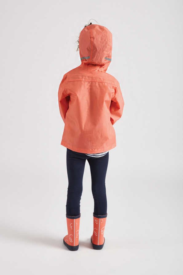 Grass & Air kids rain jacket: coral Rain Cheater raincoat rear product view