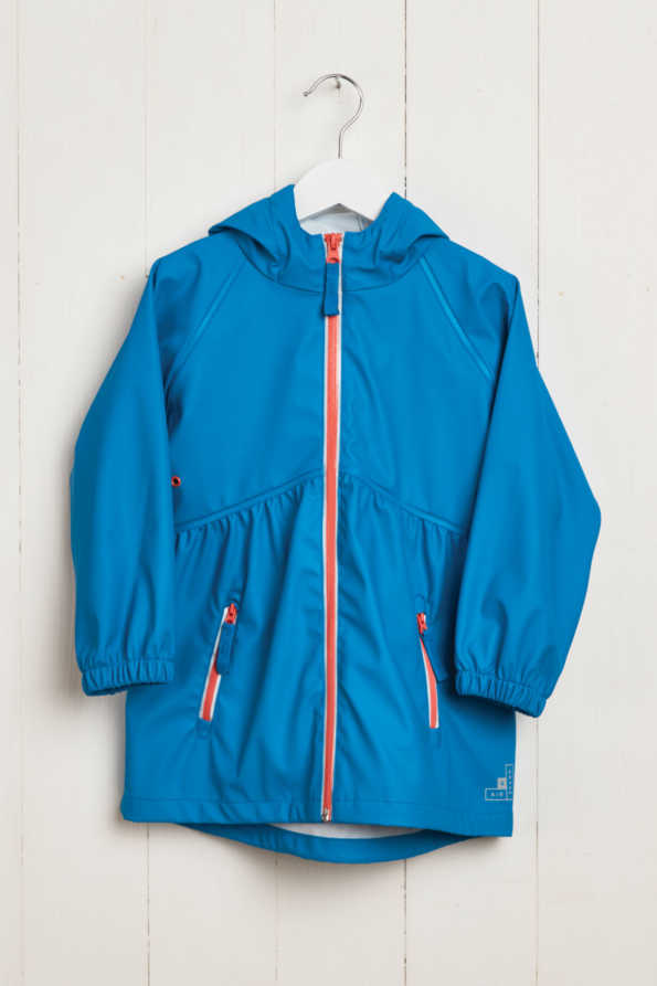 front product hanger shot of girls turquoise rain mac