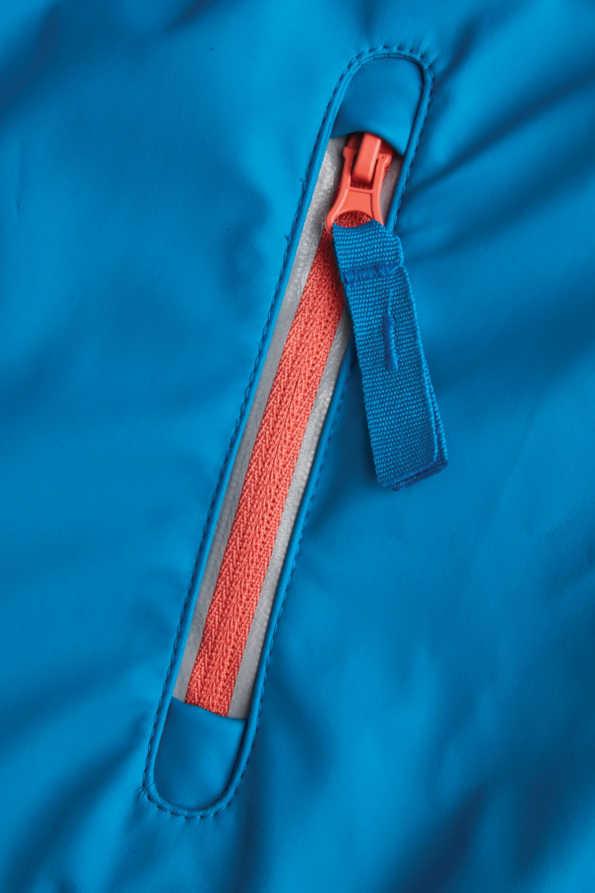 turquoise girls rain coat pocket zip detail