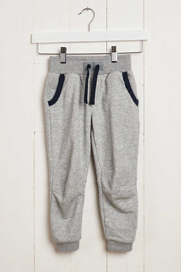 front product hanger view of kids grey joggers