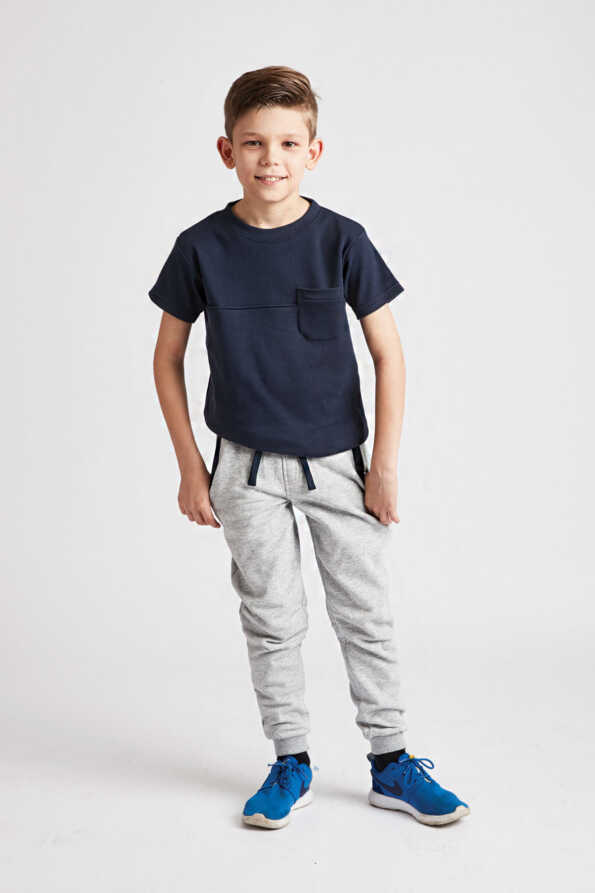 kids grey joggers with navy trim and drawstring front view