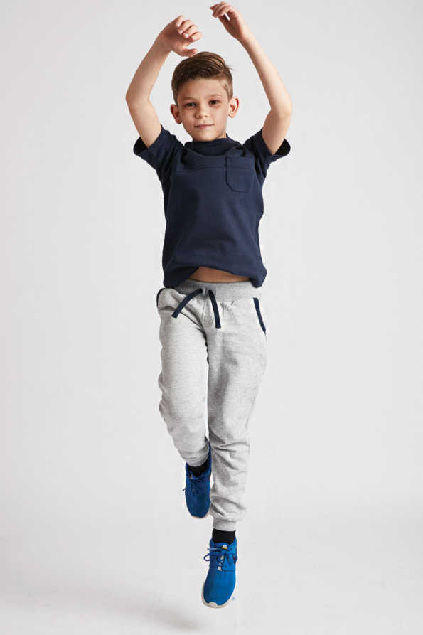 kids grey joggers with navy drawstring and trim