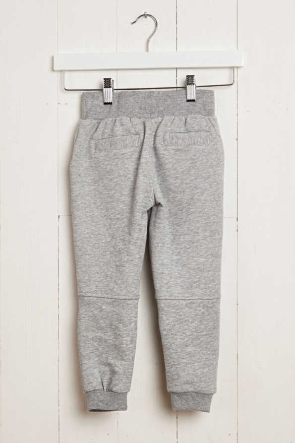 rear product hanger view of kids grey jogging bottoms