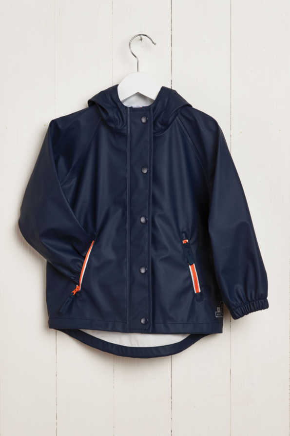front product hanger shot of boys navy rain mac