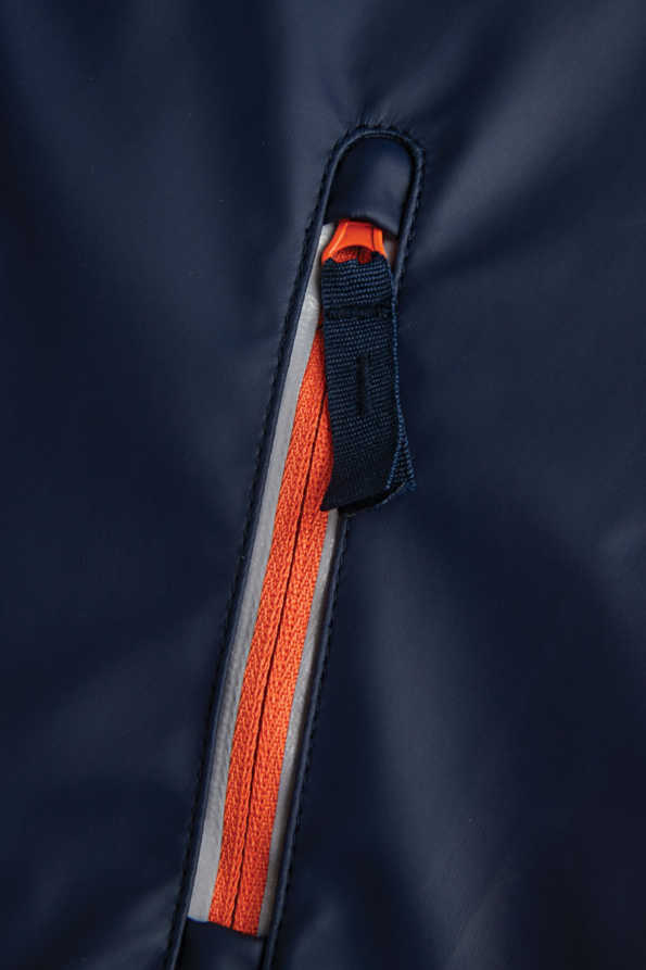 boys navy rainster pocket detail