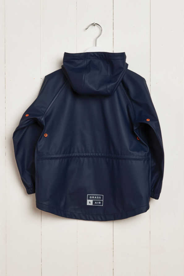 rear product hanger shot of navy boys rain mac