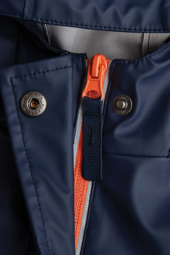 navy boys rain mac zip and press stud detail