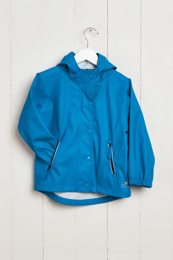 front product hanger shot of boys turquoise rain mac
