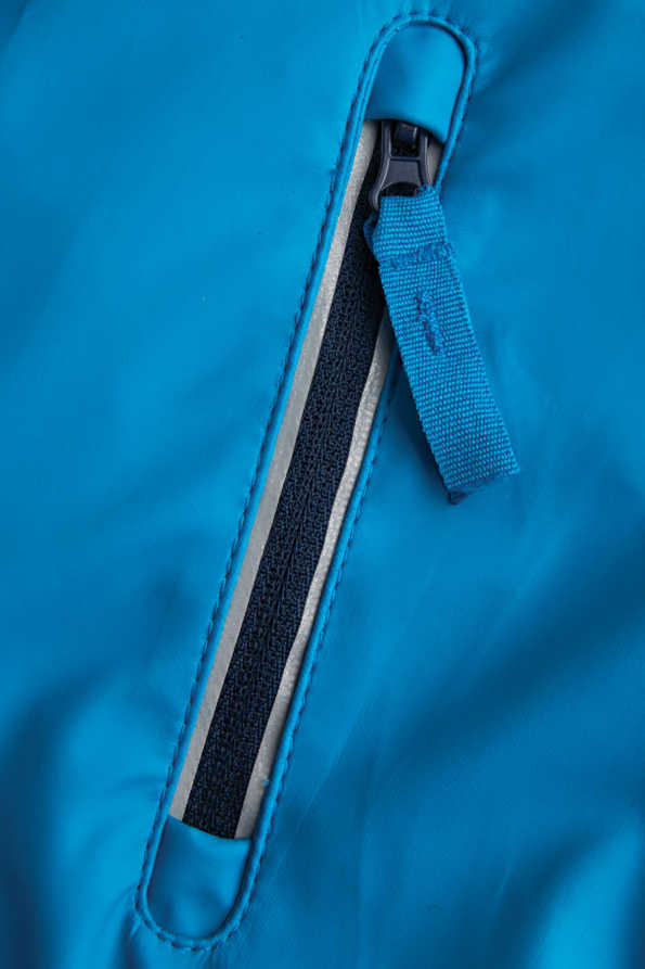 turquoise boys rain mac pocket detail