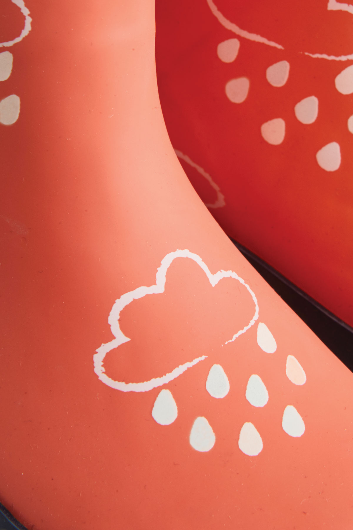 colour-revealing coral wellies pattern detail