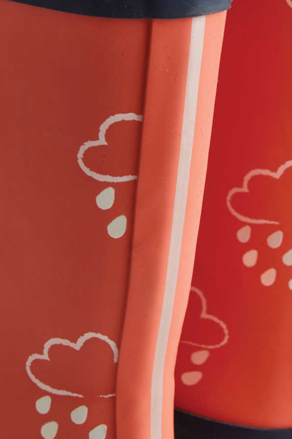 coral colour-revealing infant wellies silver stripe detail