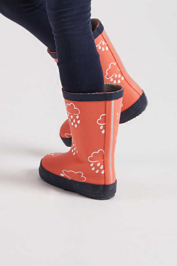 infant colour-revealing coral wellies side view
