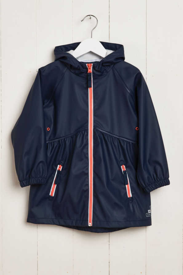 front product hanger shot of girls navy rain mac