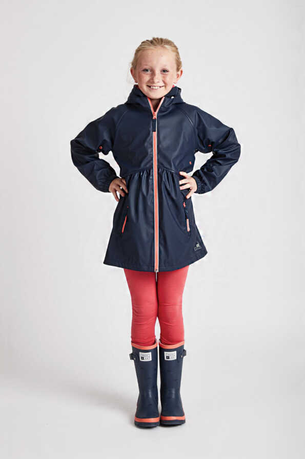 navy raincoat for girls: Grass & Air girls navy rain mac