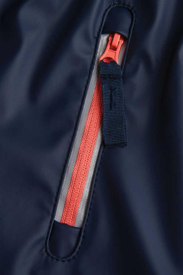 navy girls rain coat pocket zip detail