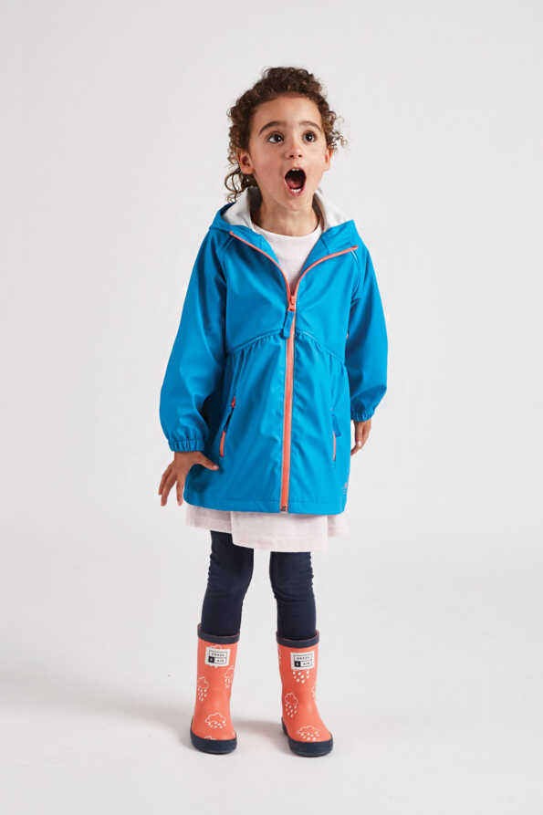 Grass & Air girls turquoise stylish rain coat with contrast zips: front lifestyle product view