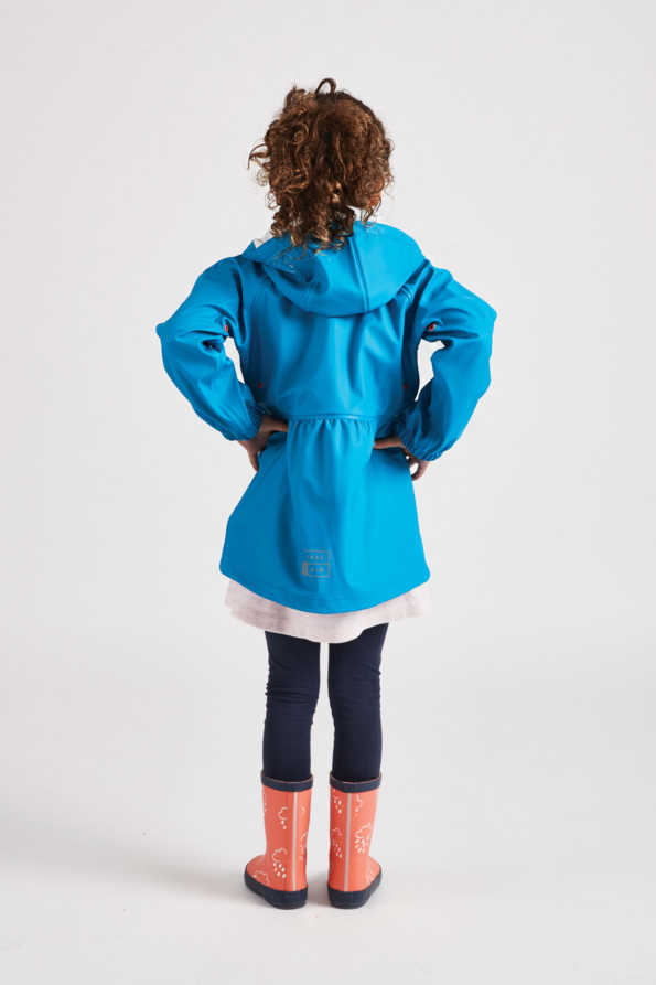 little girls turquoise rainster rain mac rear product view