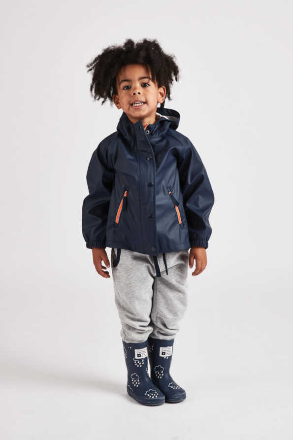 little boys navy rain mac front