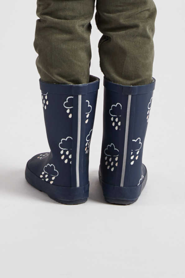 little kids navy colour-revealing wellies rear view