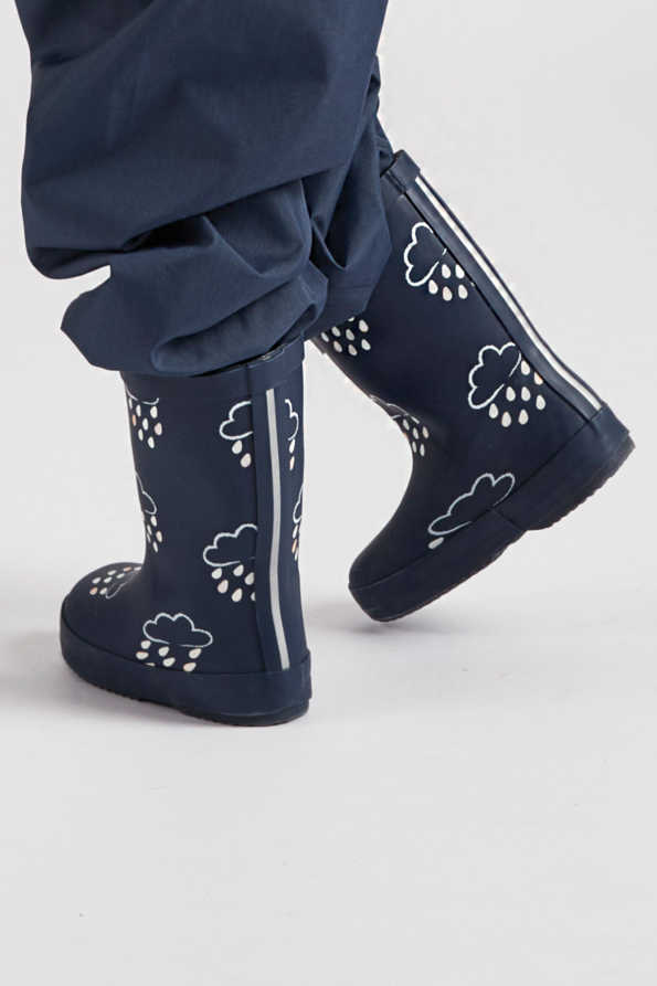 infant colour-revealing navy wellies side view